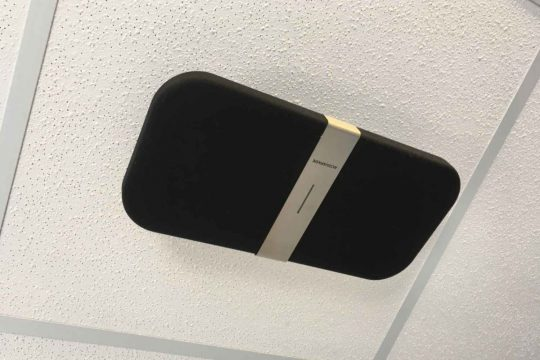 New speaker attached to ward ceiling