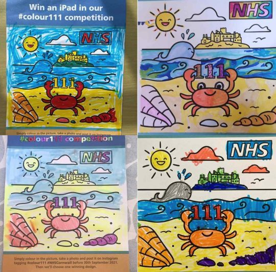 Four examples of the beach-scene line drawing that have been coloured-in by children
