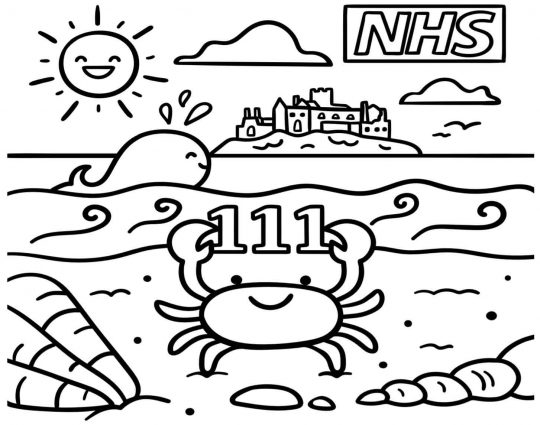 A line drawing of happy sea creatures against a summery beach scene