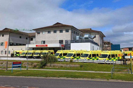 Ambulances outside emergency department at Royal Cornwall Hospital
