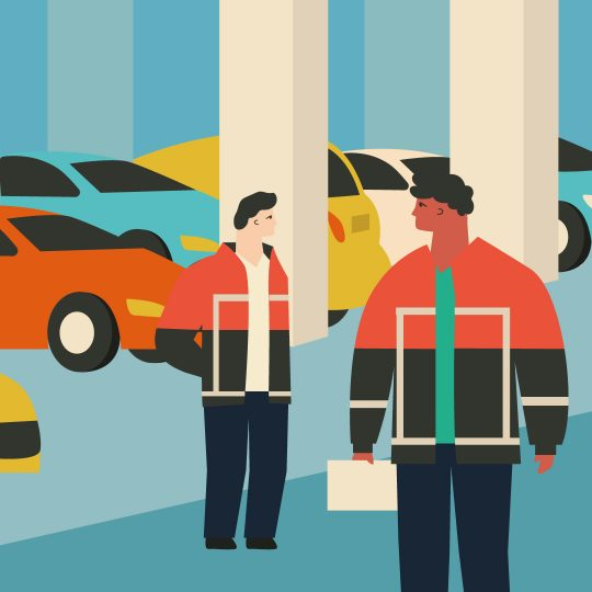 Graphic of parked cars and two parking attendants in high visibility uniforms, one with a clipboard