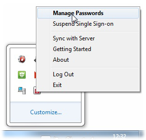 Manage passwords option highlighted