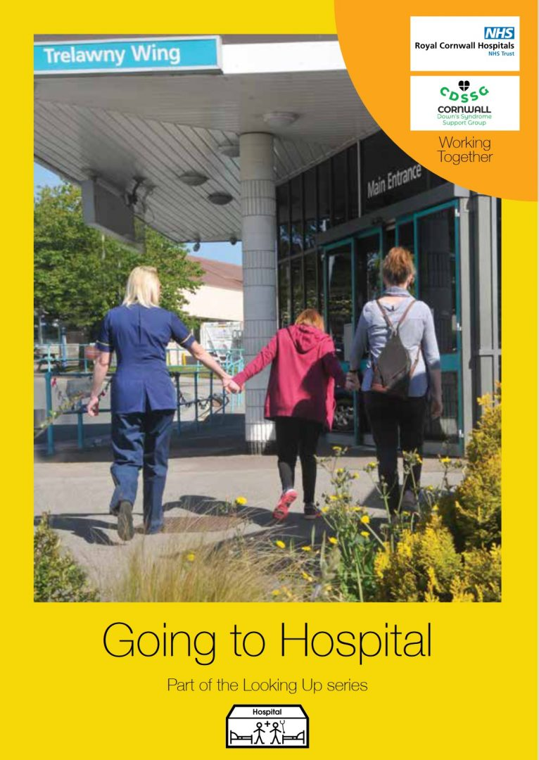 Book cover depicting a member of the safeguarding team, a parent/guardian and a child walking towards the front entrance of the hospital on a sunny day, with the title of the book, Going to Hospital, displayed on a yellow border below.