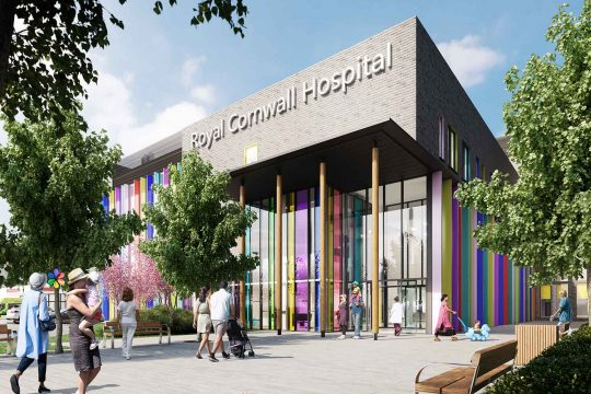 Illustration of proposed building development at Royal Cornwall Hospital showing a new three storey glazed entrance with colourful features