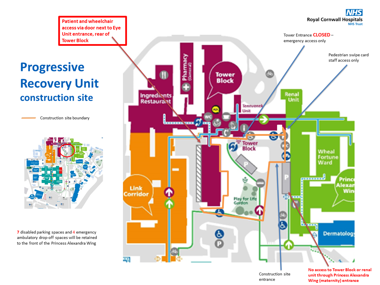 Public access map for progressive recovery unit contsruction site
