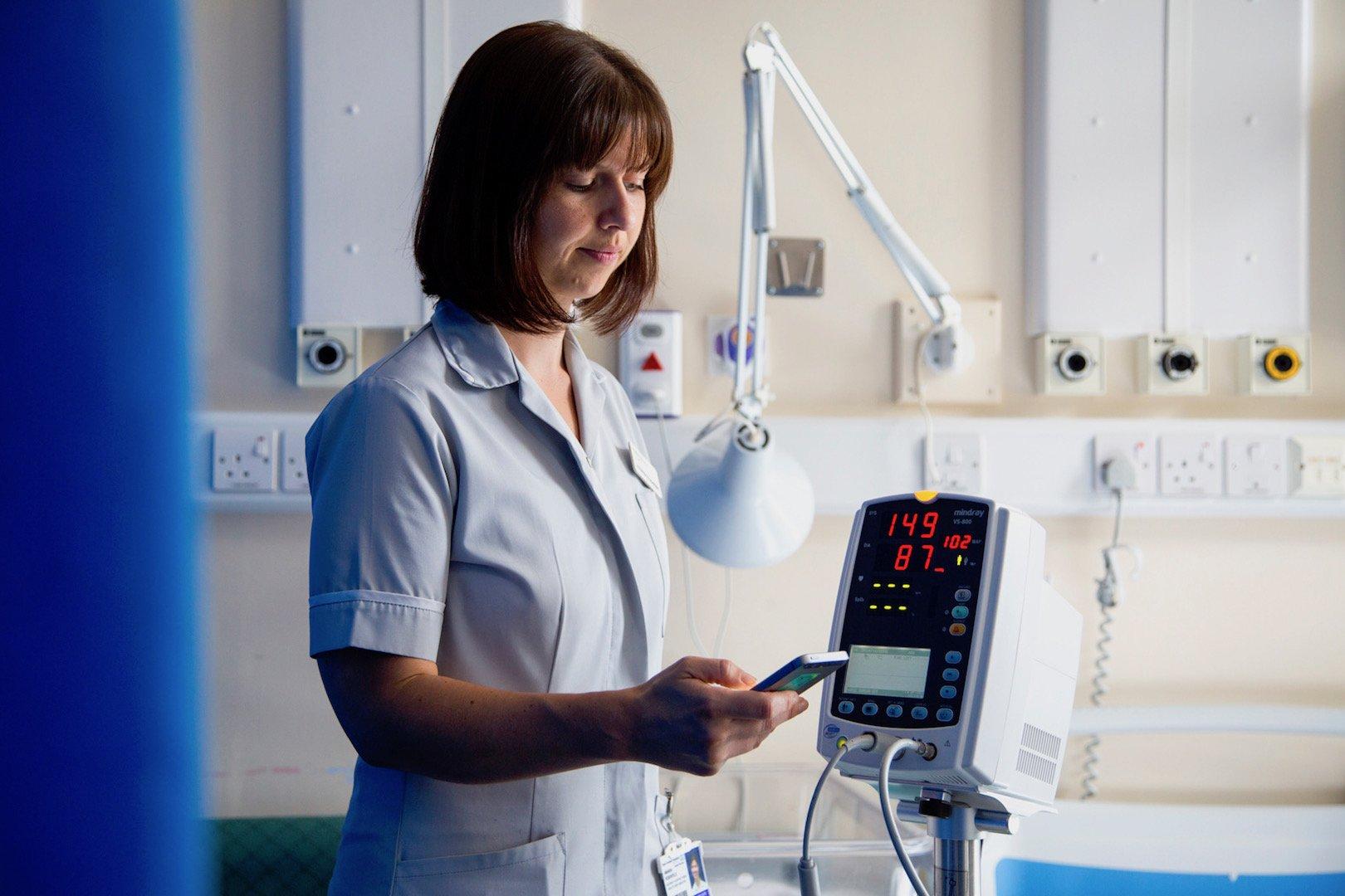 Clinician using a work phone