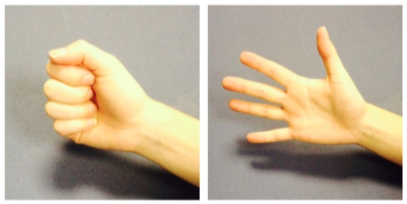 Person opening and closing their hand