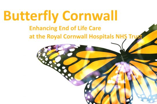 """Butterfly graphic with text that reads """"butterfly cornwall, enhancing end of life care at the royal cornwall hospitals NHS trust"""""""