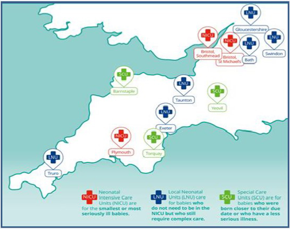 Map of the South West Network Neonatal Network